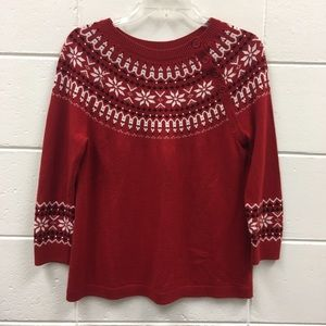 Talbots Lambswool Blend Sweater 3/4 Sleeves Red